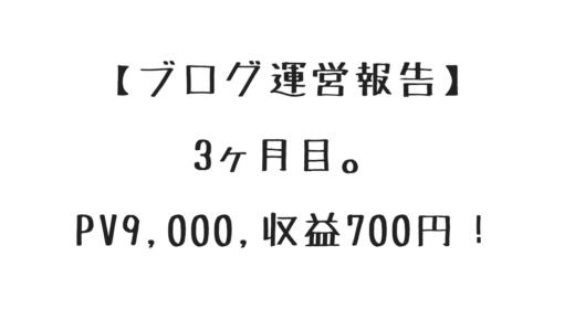 【ブログ運営報告】3ヶ月目。PV9,000、収益700円!