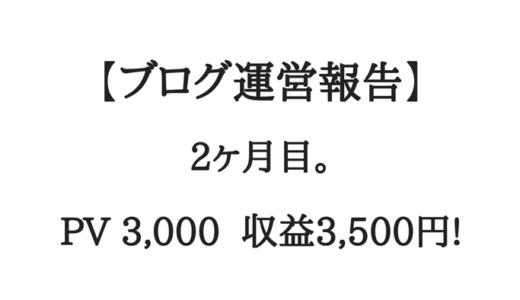 【ブログ運営報告】2ヶ月目。PV3,000、収益3,500円!