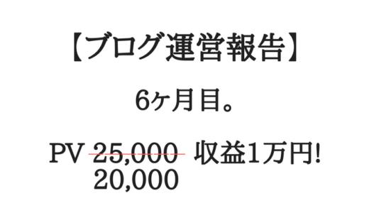 【ブログ運営報告】6ヶ月目。月間2万PV、収益1万円…やっと達成!