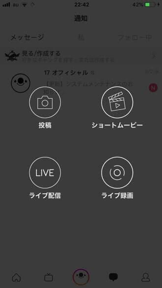 17 Live(イチナナ)の配信開始画面