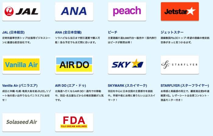 格安航空券比較サイト「エアトリ」が取り扱っている会社