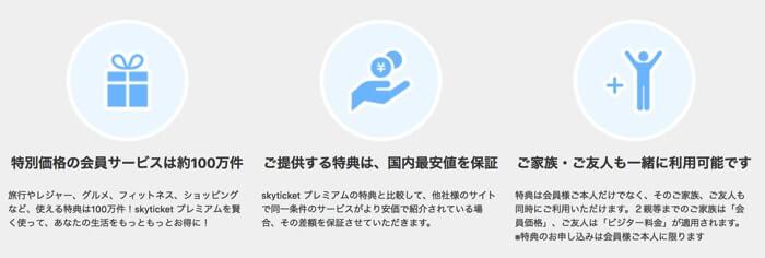 格安航空券比較サイト「skyticket(スカイチケット)」のプレミアム会員の説明
