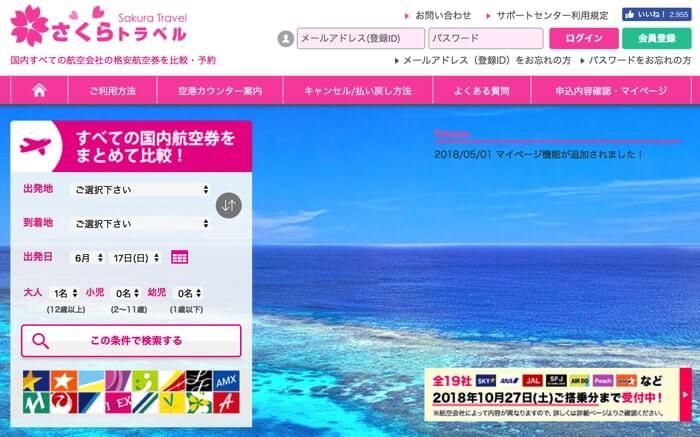 格安航空券比較サイト「さくらトラベル」のホームページ