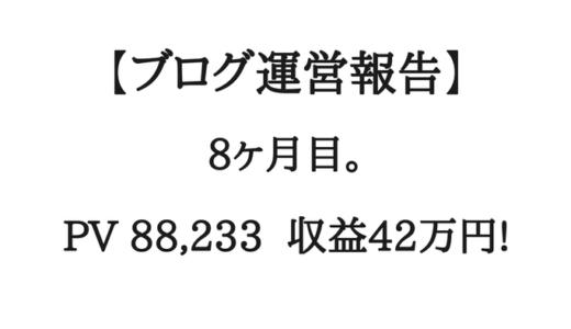 【ブログ運営報告】8ヶ月目。月間8.8万PV、収益42万円。何が起きた!?