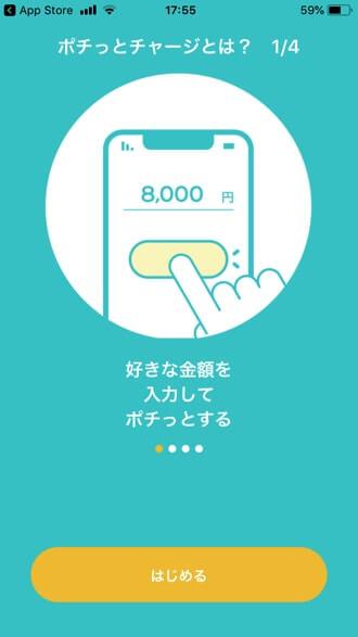 バンドルカードの「はじめる」画面