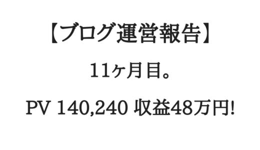 【ブログ運営報告】11ヶ月目。月間14万PV、収益48万円。ギャピピピー!!